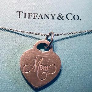 "Tiffany & Co. Mom heart tag charm and chain 18"""